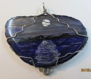 painted agate slice pendant