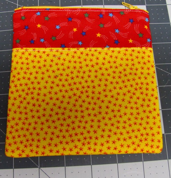 yellow and red pouch